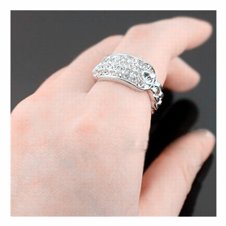 Amazon.com: 8 Pieces Rhinestone Id Stretch Ring (Silver): Jewelry
