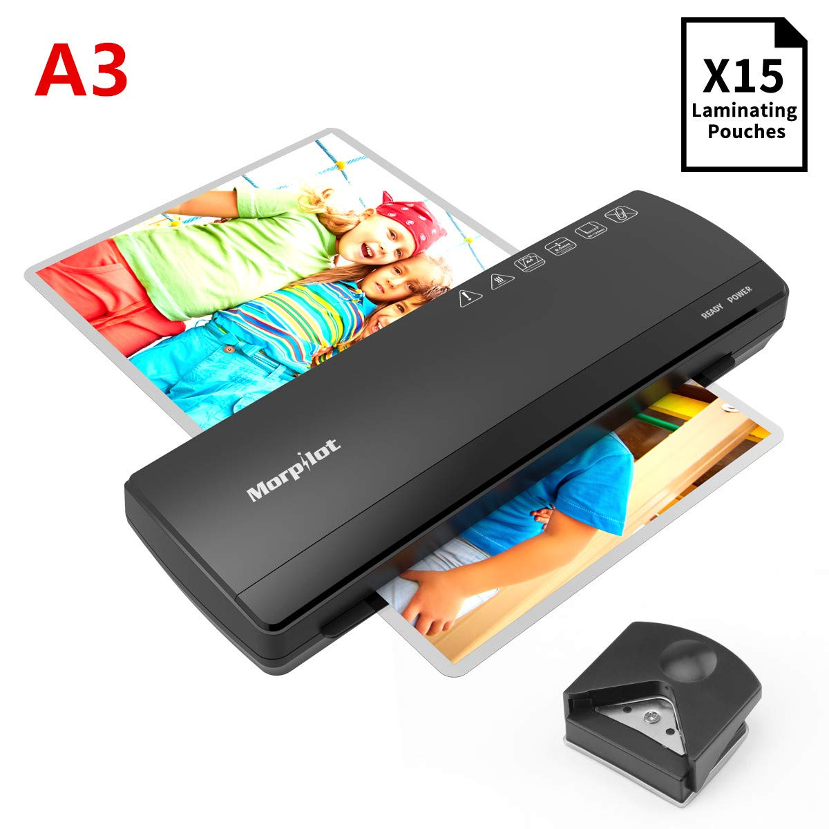 Morpilot A3 Laminator with 15 Pcs Laminating Pouches, Thermal Laminating 3-5 Mins Preheat, Support Plate/Corner Rounder, 2 Rolls Laminator.(Compatible with A4 Laminator,Laminating More Size Paper)