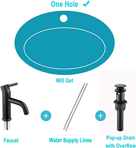 ANZA Lead-free Brass Single Handle Bathroom Faucet, Basin Sink Faucet with Pop-up Sink Drain Assembly Faucet Supply Lines, Matte Black