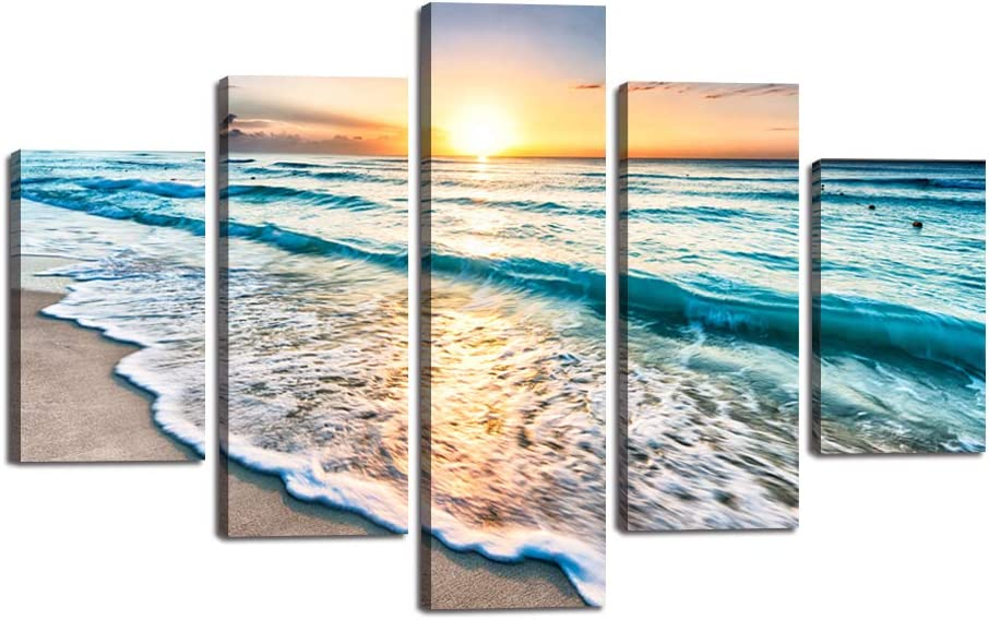 Blue Ocean Sunrise Artwork Modern Landscape Painting 5 piece canvas,Seascape Beach HD Prints Pictures Giclee Wall Art for Living Room Home Decor Wooden Framed Stretched Ready to Hang(60''Wx40''H)