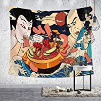 D C.Supernice Great Wave Kanagawa Tapestry Wall Hanging Japanese Art Wall Tapestries for Restaurant Bar Bedroom Decor