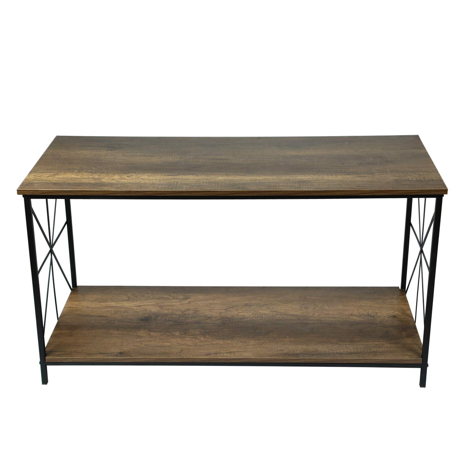 Amazon com adeco ft0198 2 accent storage wood top shelf with sturdy metal frame 24 inches height coffee tables walnut kitchen dining