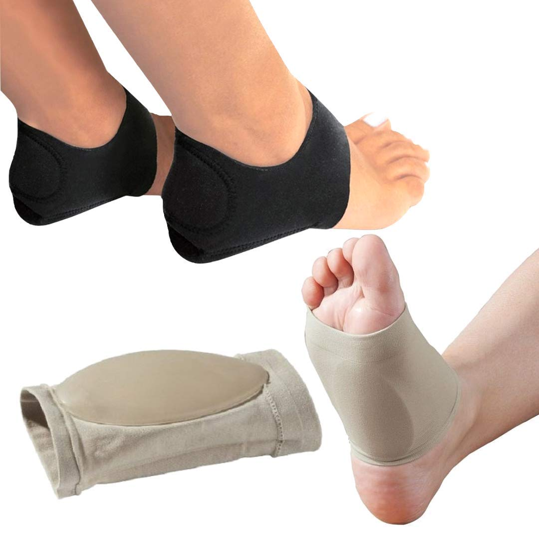 Amazon Com Medized Plantar Fasciitis Therapy Wrap Heel Foot Pain Arch Support Ankle Brace Insole Orthotic Beige Arch Sleeve And Black Heel Wrap Beauty
