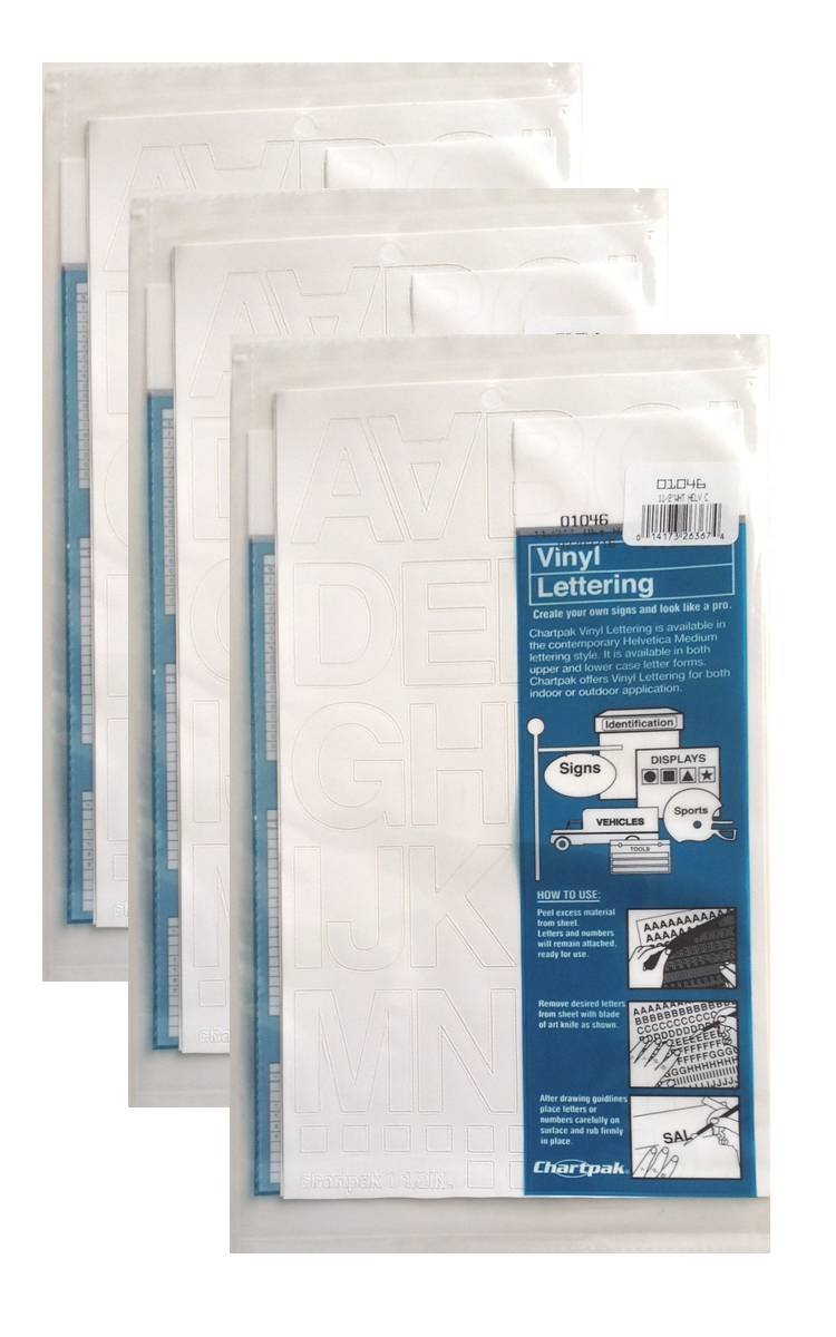 Chartpak 1-1/2-inch White Stick-on Vinyl Letters (01046), 3 PACKS
