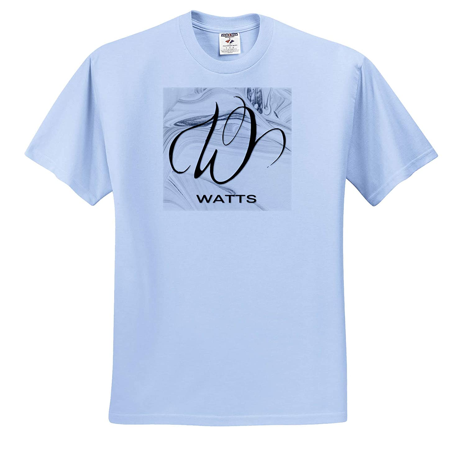 3dRose BrooklynMeme Monograms White Marble Monogram W Watts Adult T-Shirt XL ts/_310137
