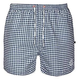Bugatti®–modern patterned men's swim shorts in Navy, Black/Grey/Turquoise/Red