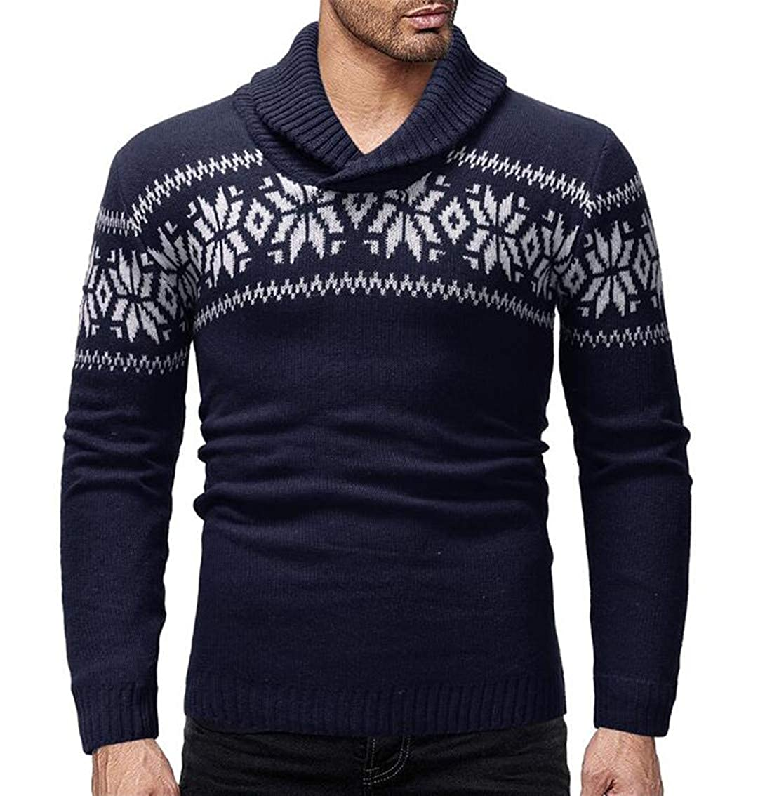CRYYU Men Long Sleeve Christmas Knit Print Turtleneck Pullover Slim Sweater