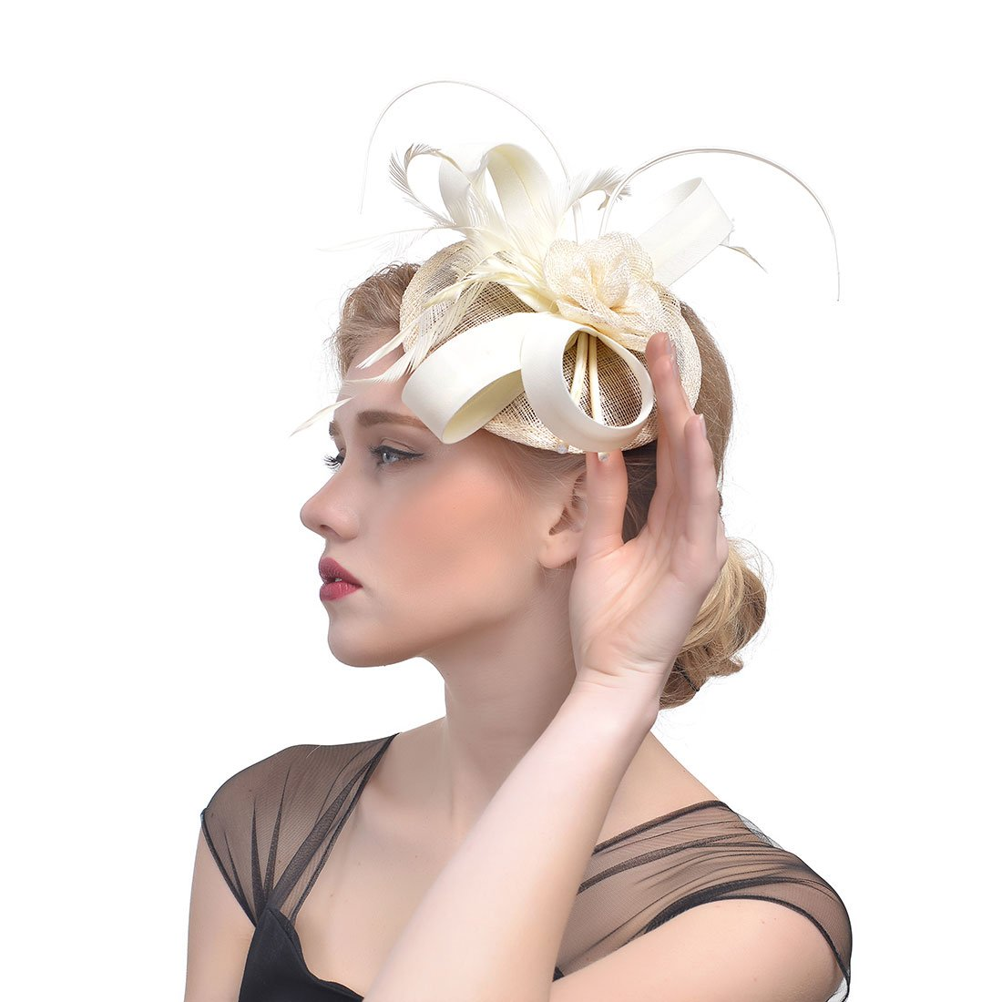 Zongsi Fascinators Hat Flower Mesh Feathers Hairpin Hat Clip Cocktail Tea Wedding Party Headwear For Girls and Women(Style 1, off white)