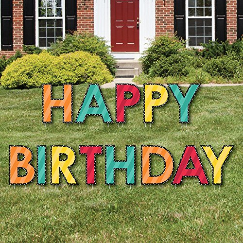 Big Dot of Happiness Colorful Happy Birthday - Yard Sign Outdoor Lawn Decorations - Birthday Yard Signs