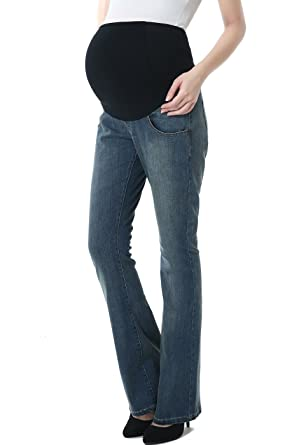 5861656f52a24 Momo Maternity Women's Flare Leg Denim Jeans at Amazon Women's ...