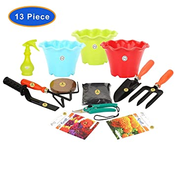 "KRAFT SEEDS 9 PIECES GARDEN TOOLS SET WITH 2 KRAFT SEEDS PKTS GARDENING TOOLS WITH ORGANIC MANURE AND KRAFT AGRO PEAT FOR FAST GERMINATION AND ALSO SPRAYER PUMP (250ml.) THIS SPRAYER PUMP IS A USED TO SPRAY A LIQUID OR WATER. IN GARDENING TOOLS SET GARDEN TROWEL ,PRUNERS ,CULTIVATOR , KHURPI FOR SMALL ,FORK AND BLACK POT 3"" (3pcs SET) AND KRAFT SEEDS AFRICAN MARIGOLD ORANGE AND ZINNIA FLOWER PKTS"