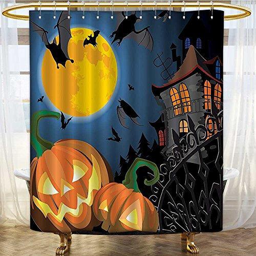 (Mikihome Shower Curtains Fabric Scene with Halloween Haunted Party Theme Trick or Treat for Bathroom Decor Set with Hooks W36 x H72)