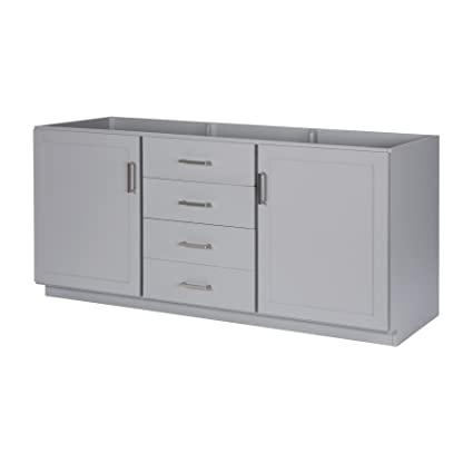 MAYKKE Sterling 72u0026quot; Bathroom Vanity Cabinet In Birch Wood Light Grey  Finish | Double Floor
