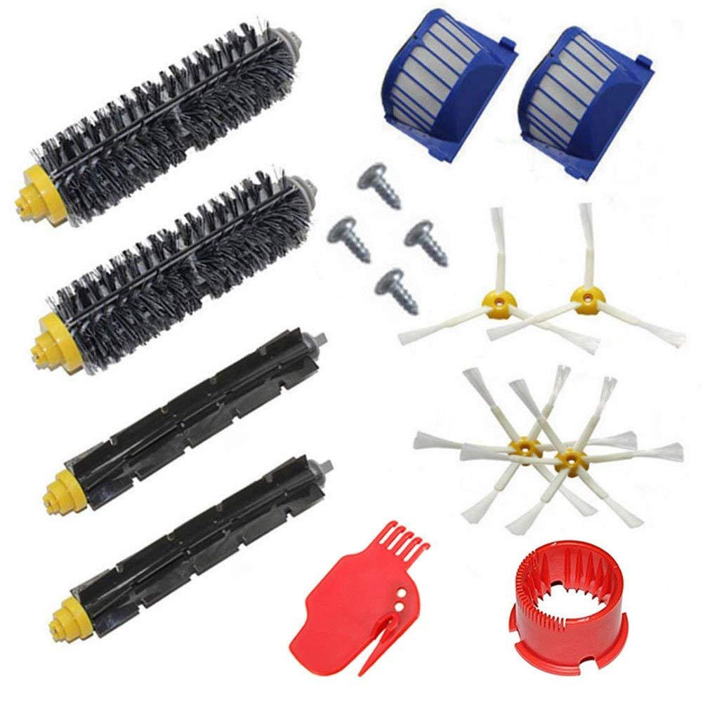 Accessory Kit for Irobot Roomba 600 Series Robot Vacuum Cleaner Replacement Parts 529 585 595 600 610 620 630 650 660 670 Pack of 2 Beater Brushes,2 Bristle Brushes, 2 Filters, 4 Side Brushes,4 Screws,2 Cleaning Tools aoteng