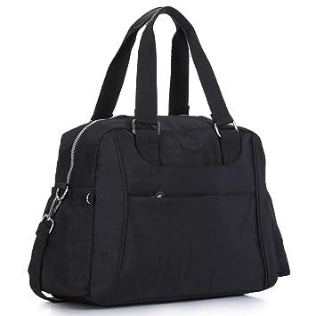 eddb52d5949edd Amazon.com | Nylon Travel Tote Cross-body Carry On Bag with shoulder strap  (Black) | Travel Totes