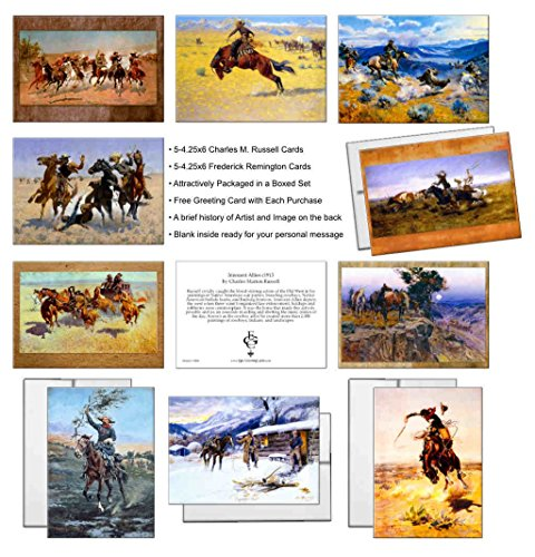 Ten Charles M. Russell, and Frederick Remington Assorted Vintage Western Cowboy Art New Thank You Notecards in a Boxed - Card You Thank Epic