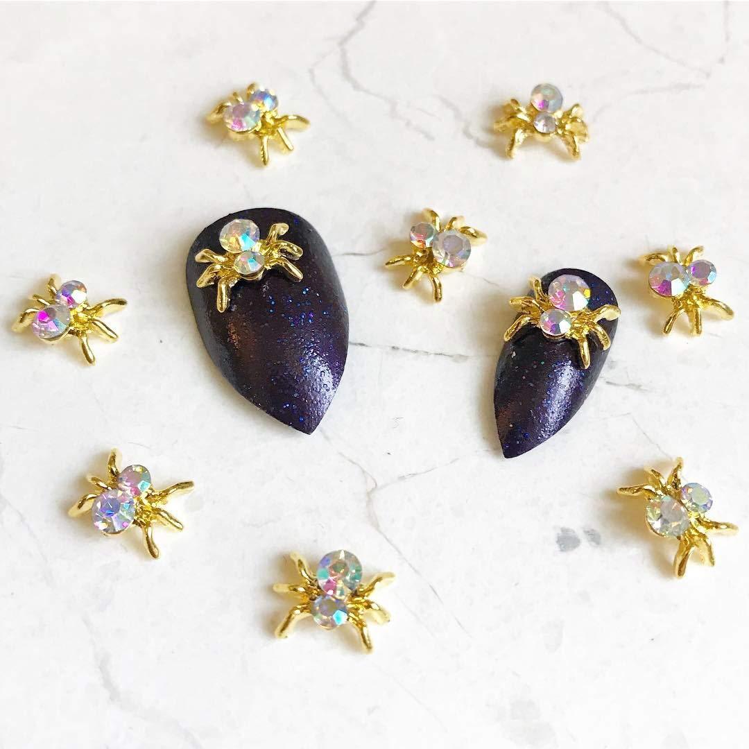 RoseWhiteLime Nail Charms - 10 Pcs AB Crystal Gold Spider Nail Charms, 3D Nail Art, Crystal Spider Nail Decorations Beleshiny