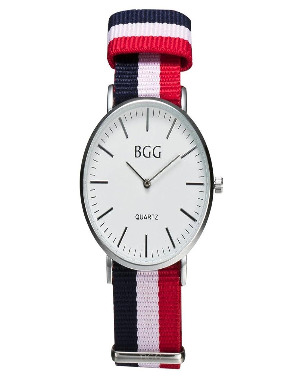 DreamanエレガントなデザインファッションシンダイヤルSiameseキャンバスバンドアナログクオーツ腕時計 S ホワイト  ホワイト B07648Q9NQ