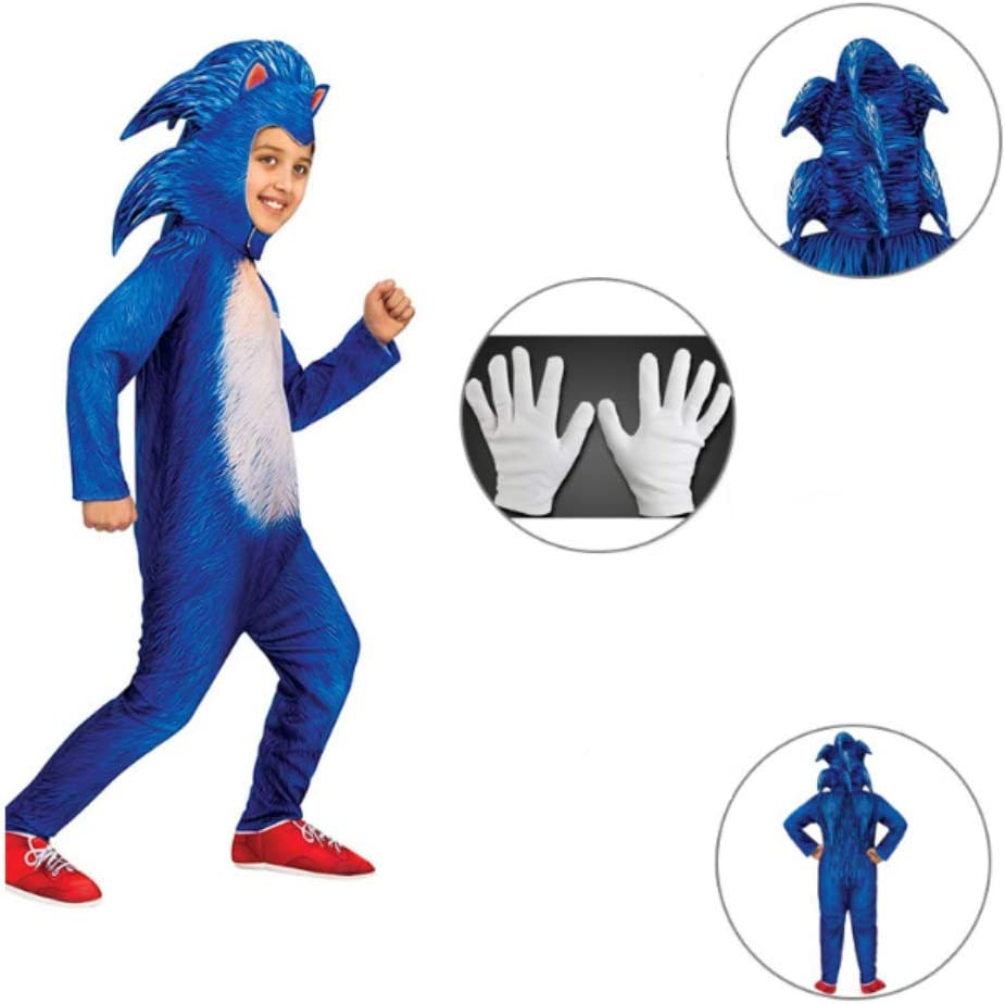 Sonic Costume Kids Boy Cosplay Hedgehog Costume Anime Character Cloth Movie Fancy Dress Halloween Props Christmas Birthday Party Children Costume Gift M Amazon Co Uk Kitchen Home