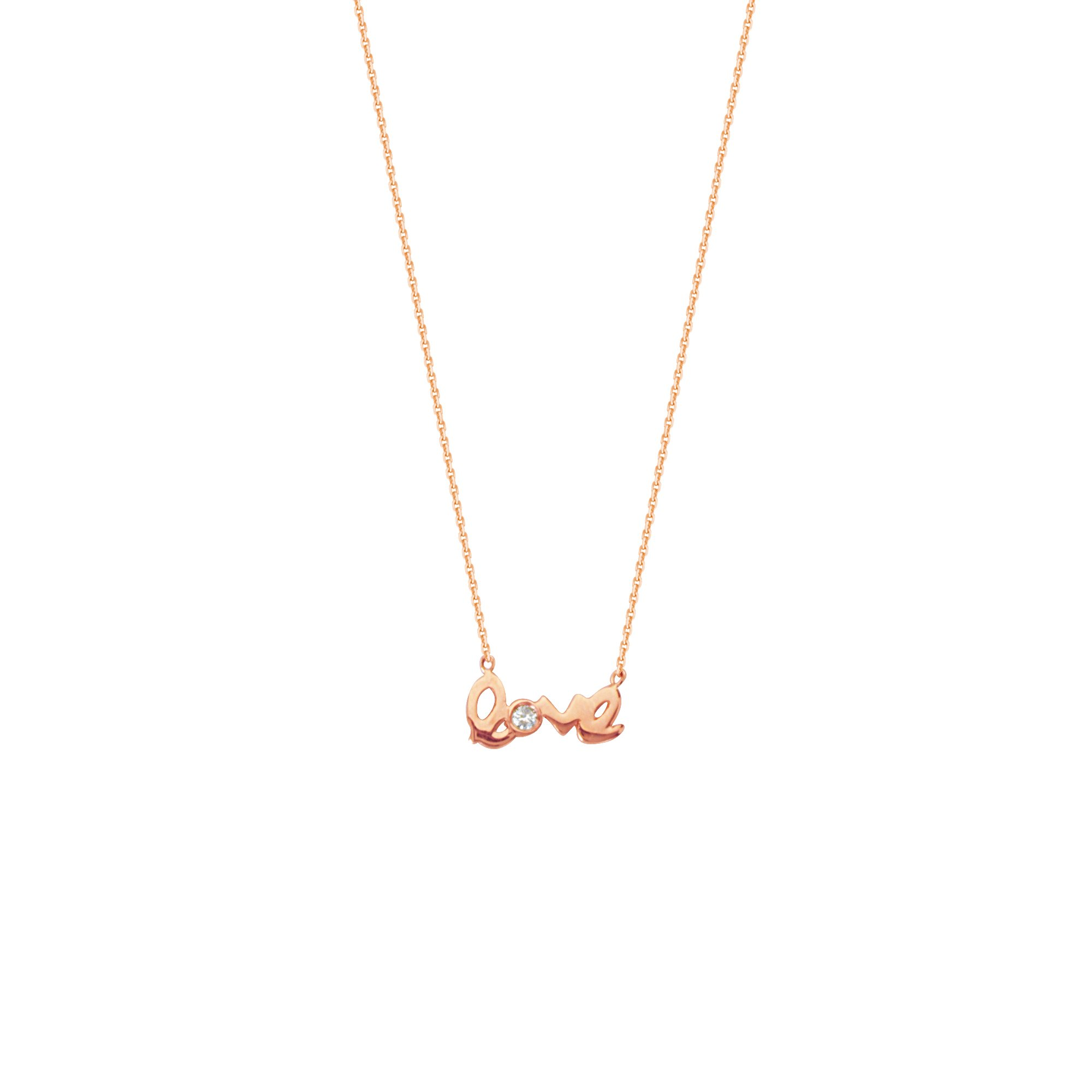 LOVE NECKLACE, 14KT GOLD & DIAMOND NECKLACE 18'' INCHES
