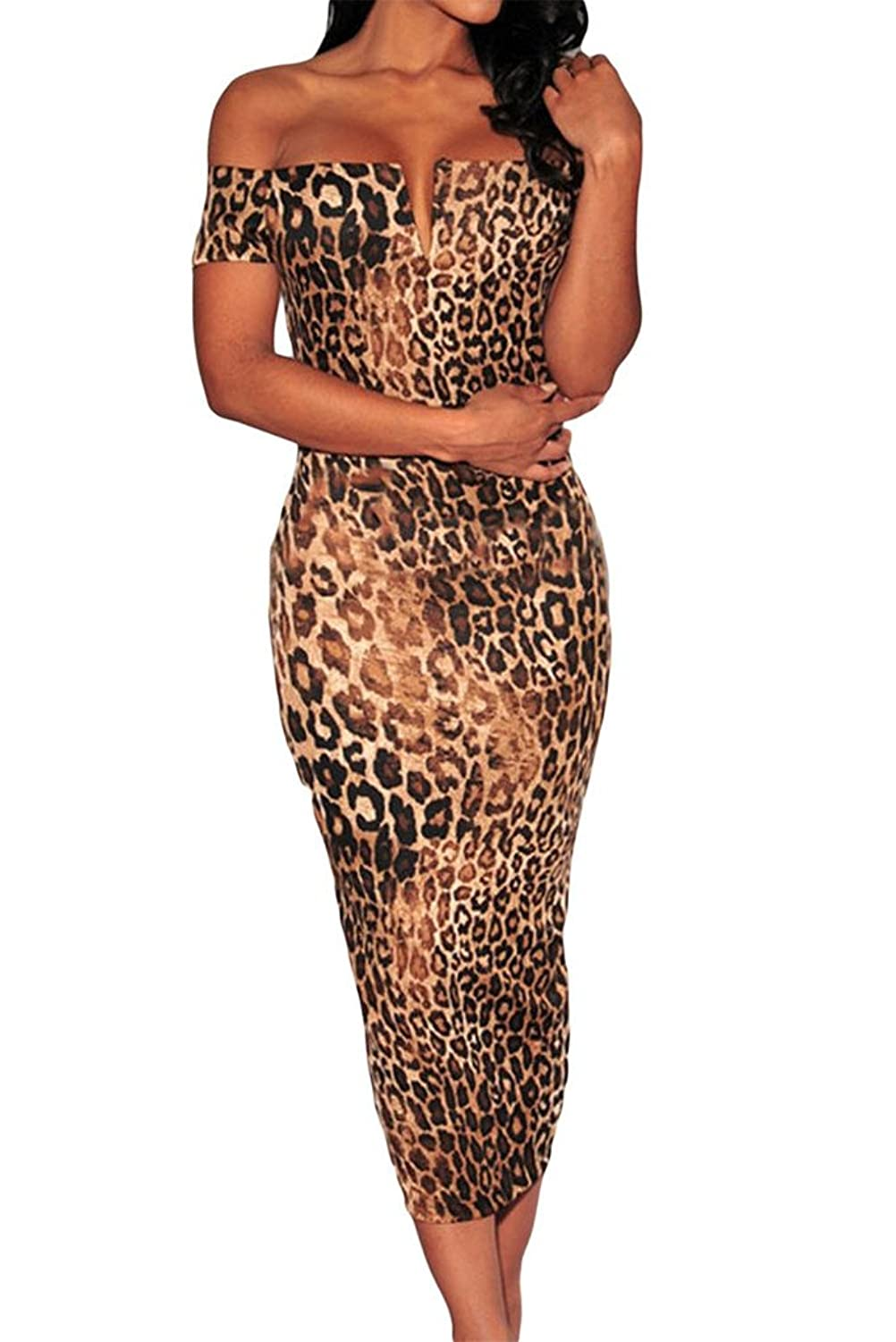 Happy Sailed Women's Leopard Print Off-the-shoulder Midi Dress