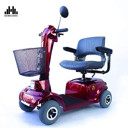 Mobiclinic Scooter eléctrico con 4 Ruedas   con Asiento   Desmontable   Compacto   Color Burdeos