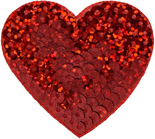 Iron-On Applique//Embroidered Patch RED Valentines Sequin Heart Medium