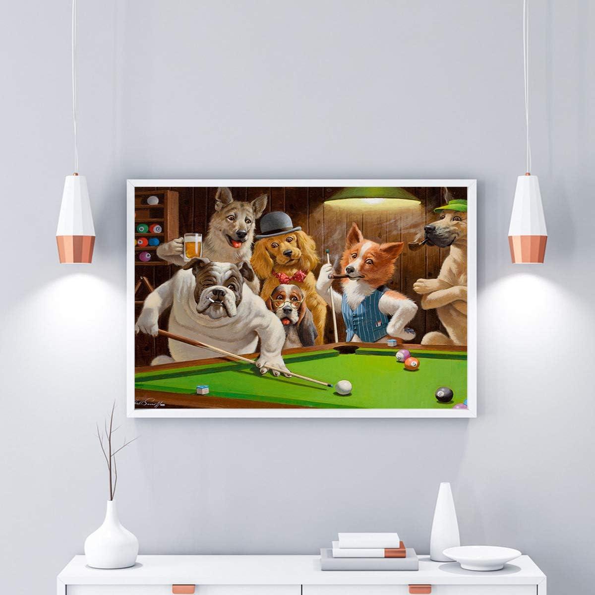 baokuan86 HD Moderno impresión en Lienzo Perro Jugando Billar Billar Pintura al óleo sobre Lienzo decoración de la habitación en casa Cartel-XL: Amazon.es: Hogar