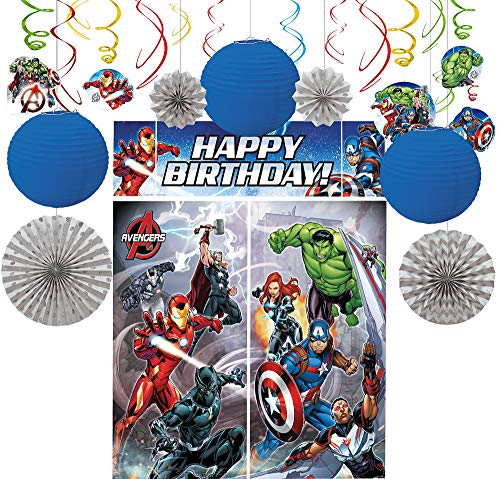 Party City Avengers Decorating Supplies, Include Paper Lanterns, Hanging Swirls and Fans, and a Photo Booth with Props -