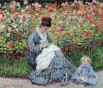 Monet (Camille Monet y un niño en el jardín del artista en ...