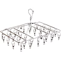 Fayleeko Clothes Drying Rack with 34 Clips, Folding Stainless Steel Drying Hanger, Baby Hangers,Clothes Hangers for…
