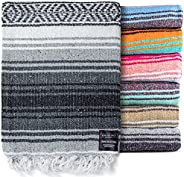 Mexican Blanket - Authentic Falsa Thick Soft Woven Acrylic Yoga Serape or as Beach Throw, Picnic, Camping, Tra