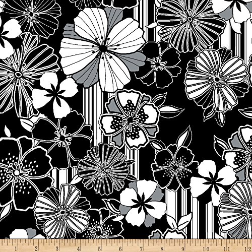 Black And White Quilting Fabric - Benartex Kanvas Cherry Twist Graphic Poppy Black/White Fabric by The Yard,
