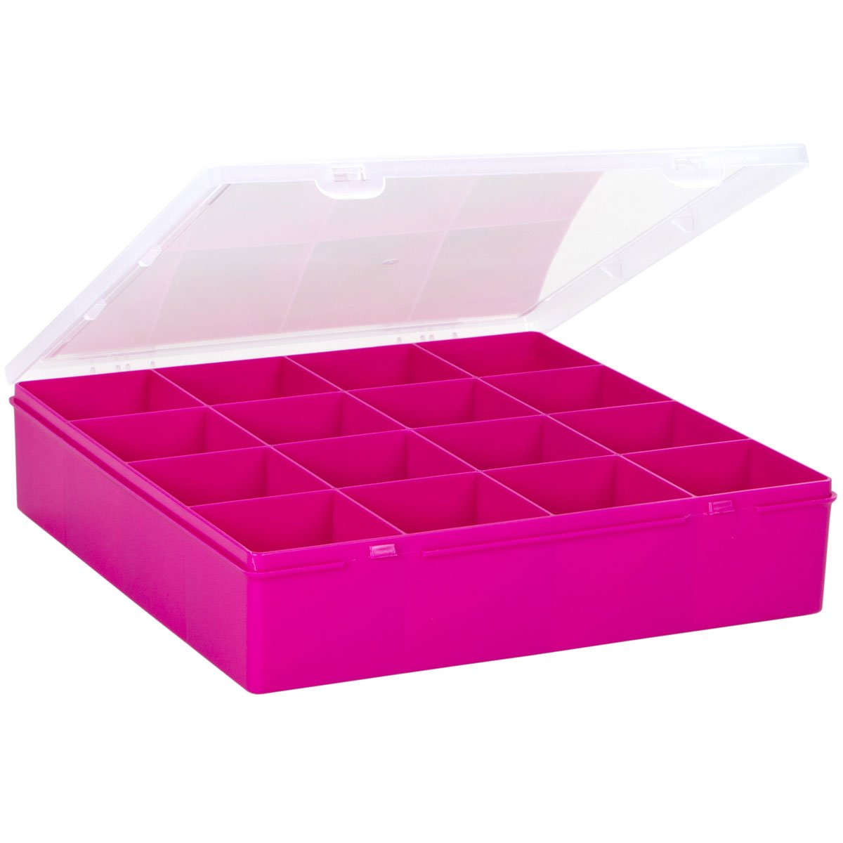 2 St/ück Sortierbox 17x16x5cm mit 4 F/ächern Fuchsia lebensmittelecht /• Aufbewahrungsbox Perlenbox Sortierkasten Organizer