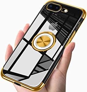 ZHIYIJIA iPhone 7 plus / iPhone 8 plus Case Clear Ring Holder Soft TPU Slim Transparent Case Anti-Scratch Shockproof Impact Holder for Magnetic Car Mount Gold