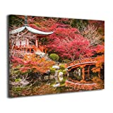 TRdY Page Japan Gardens Pond Painted Canvas Inner Framed Wall Decor Modern Artwork for Office Home Decor Pictures Ready to Hang for Living Room Bathroom