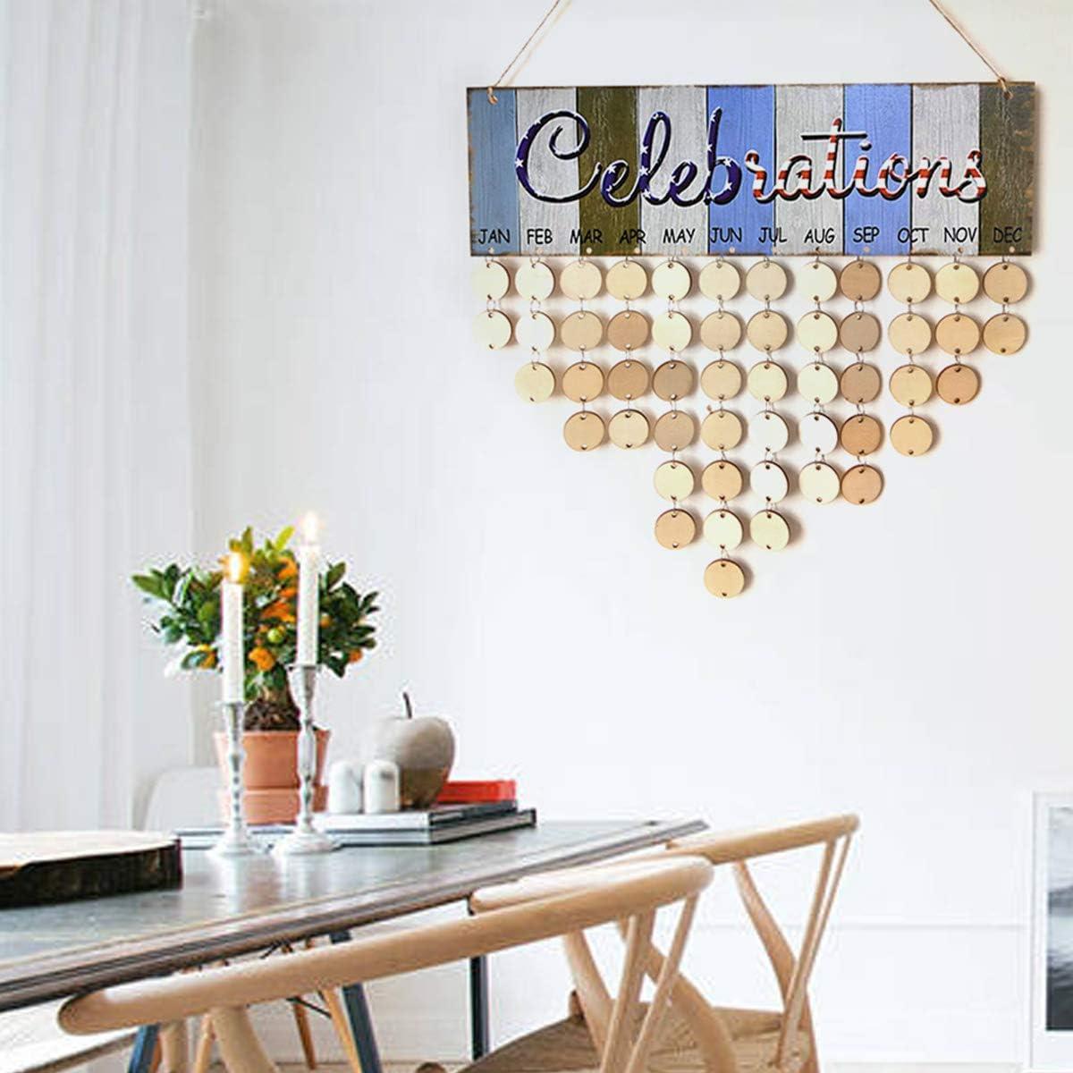 LIOOBO en Bois Anniversaire Rappel Calendrier Plaque Signe Conseil Tenture Murale Famille D/écor Plaque pour Anniversaire Anniversaire