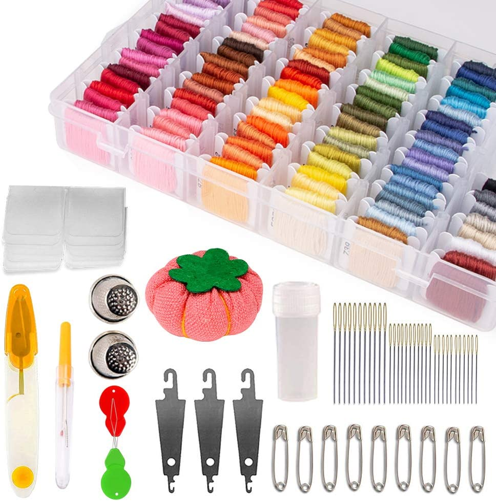 149 PCS Embroidery Floss Kits Organizer Box 100 Color Cross Stitch Threads with 49 Cross Stitching Tool for Friendship Bracelet Strings Beginner Embroidery Floss Kit