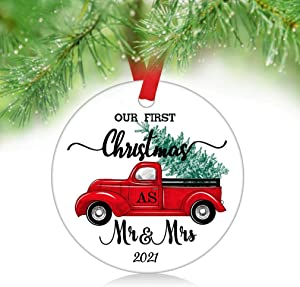 ZUNON Our First Christmas As Mr Mrs Ornaments 2021 Our First Christmas as Mr & Mrs Couple Married Wedding Decoration 3