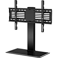 FITUEYES Universal TV Stand for 32-65 Inch LCD LED Flat Curved Screen, Swivel Height Adjustable with 8mm Tempered Glass…