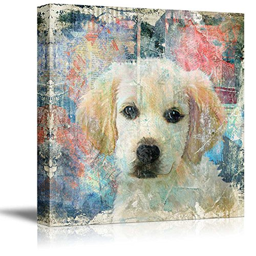 wall26 Square Dog Series Canvas Wall Art - A Golden Retriever with Colorful Background - Giclee Print Gallery Wrap Modern Home Decor Ready to Hang - 24x24 (Retriever Dog Breed Picture Frame)