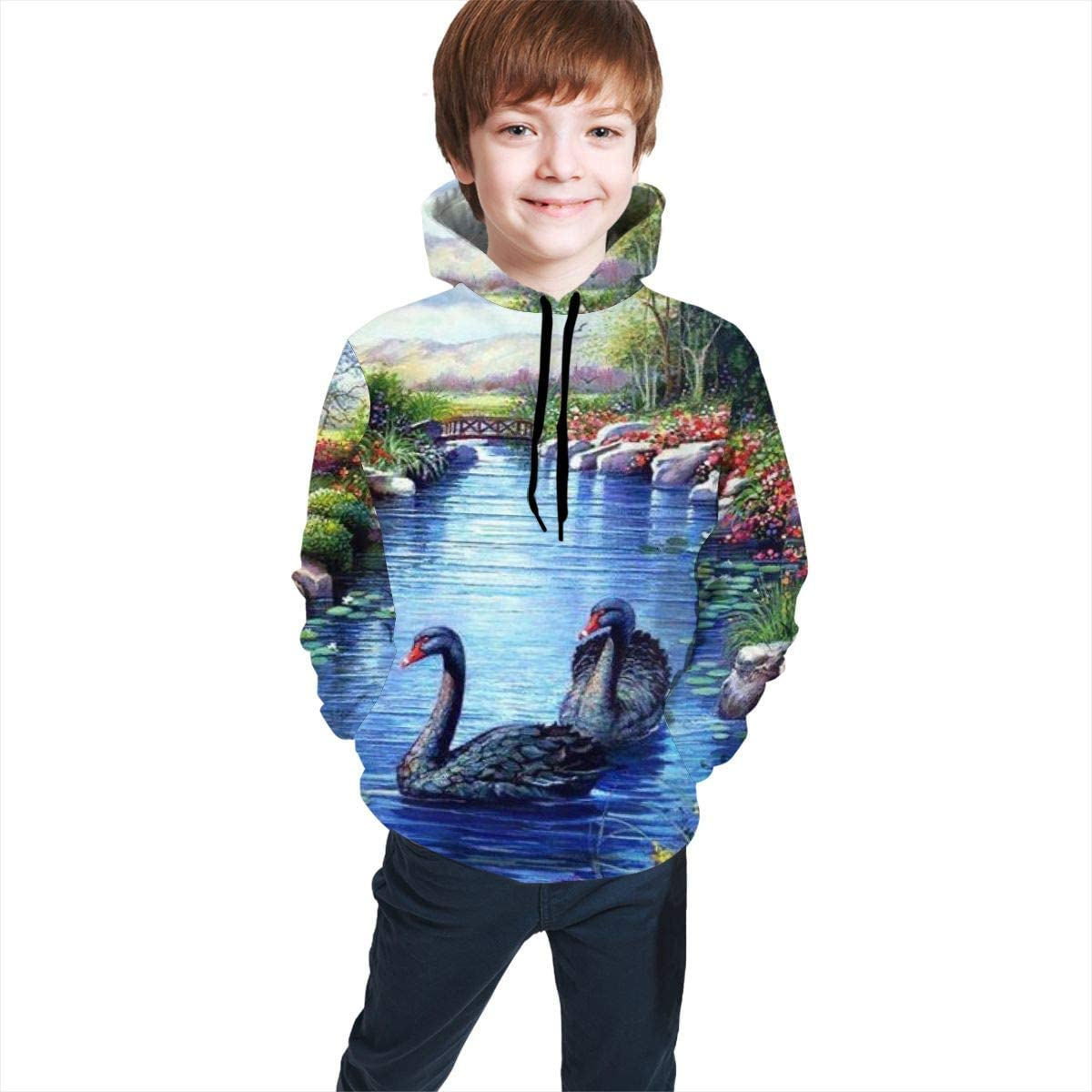 Kjiurhfyheuij Teen Pullover Hoodies with Pocket Swans Trees Soft Fleece Hooded Sweatshirt for Youth Teens Kids Boys Girls