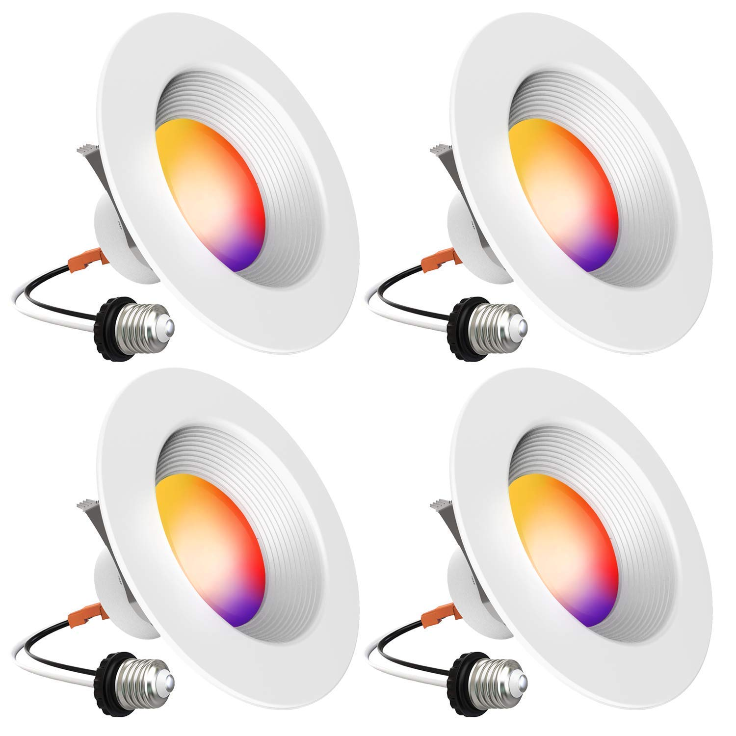 Smart Recessed Lighting - iLintek 5/6 inch Bluetooth Led Downlight Color Changing Retrofit Fixture Tunable White Dimmable 13W-Equivalent 80w, 1100lm No hub Required(5/6 inch - 4)