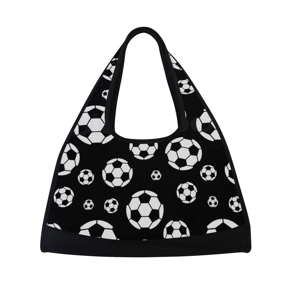 Womens Gym Bag Black and White Soccer Ball Mens Duffel Bags Duffle Luggage Travel Bag