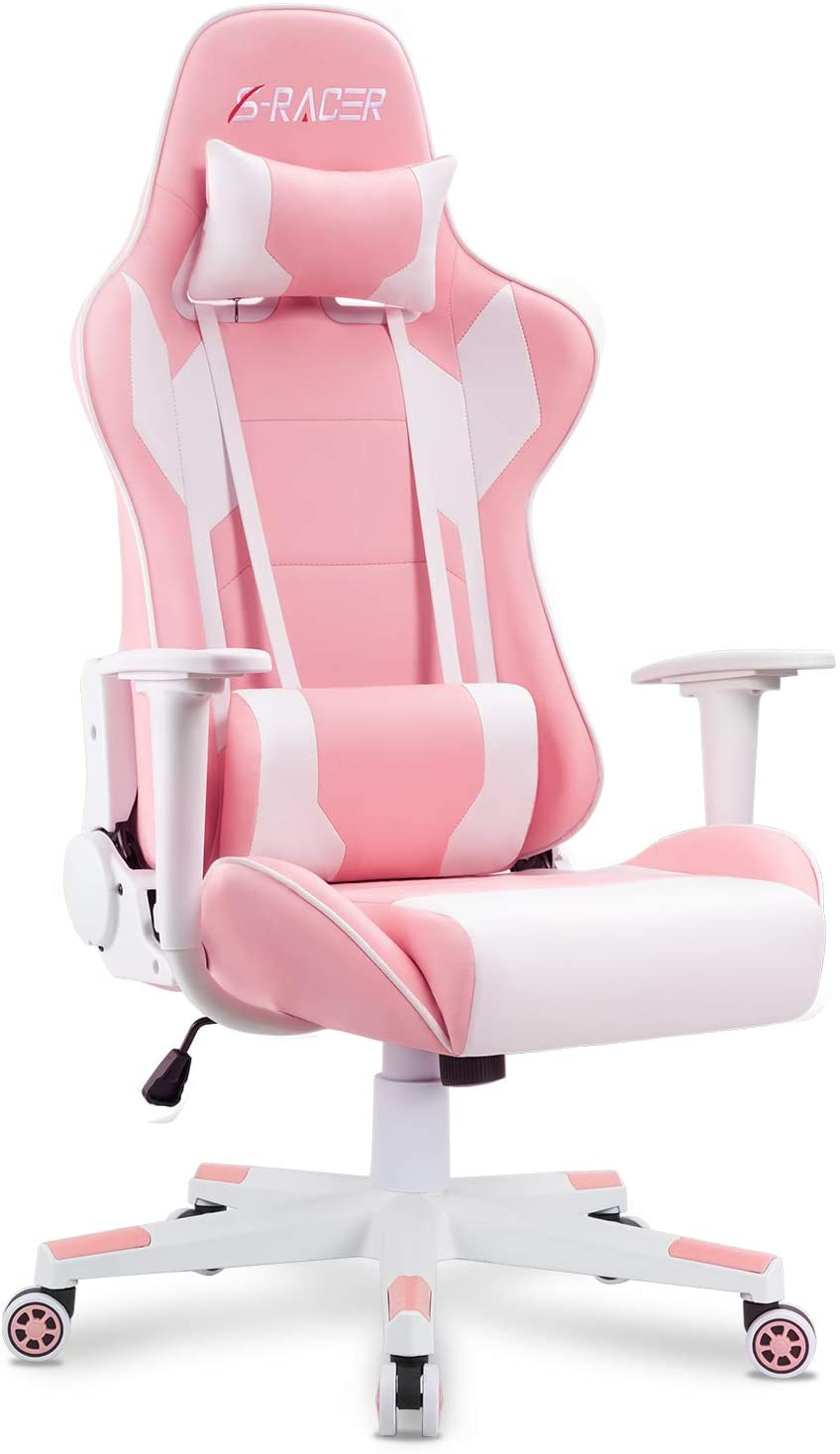 Homall Gaming Chair Office Chair High Back Computer Chair PU Leather Desk Chair PC Racing Executive Ergonomic Adjustable Swivel Task Chair with Headrest and Lumbar Support (Pink)