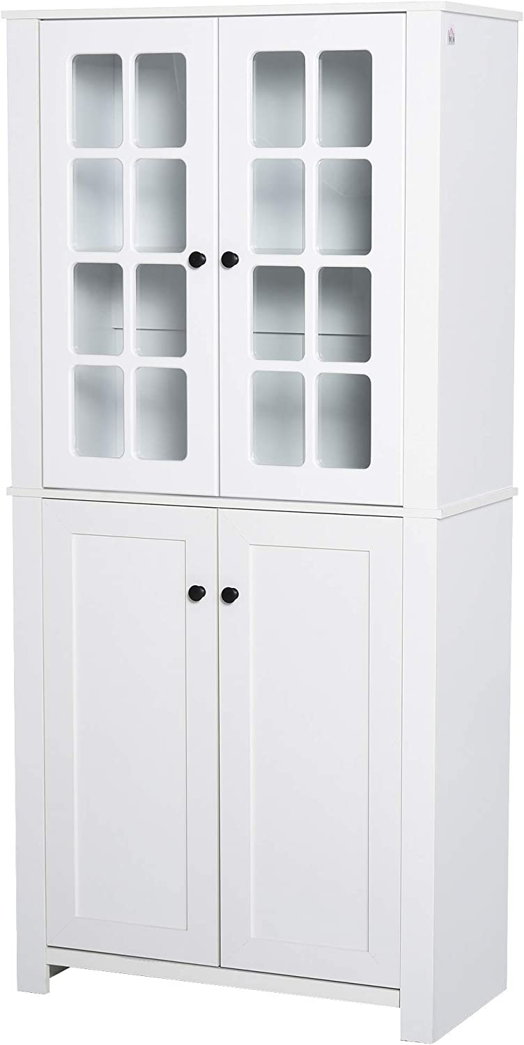 HOMCOM Contemporary Kitchen Pantry Freestanding Storage Cabinet Cupboard with Framed Glass Doors and Shelves, White