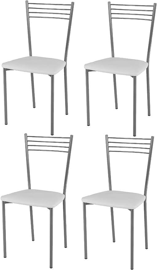 tmcs Tommychairs Set 4 sedie Moderne e Design Elena per Cucina, Bar e Sala da Pranzo, con Struttura in Acciaio Verniciato Color Alluminio e Seduta