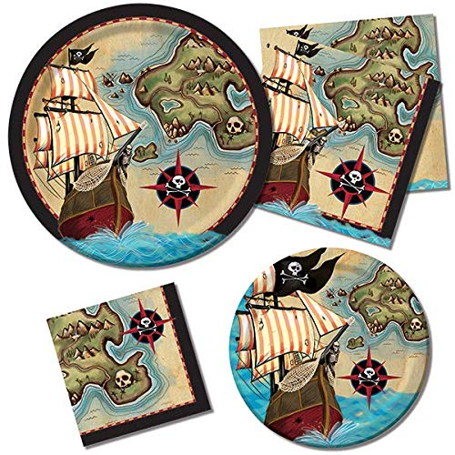 Pirate's Map Treasure Birthday Supplies Party Pack Set Serves 16 Children Adults – Luncheon & Dessert Paper Plates, Napkins – Disposable Party Supplies for Food Cake Home School Work Parties -