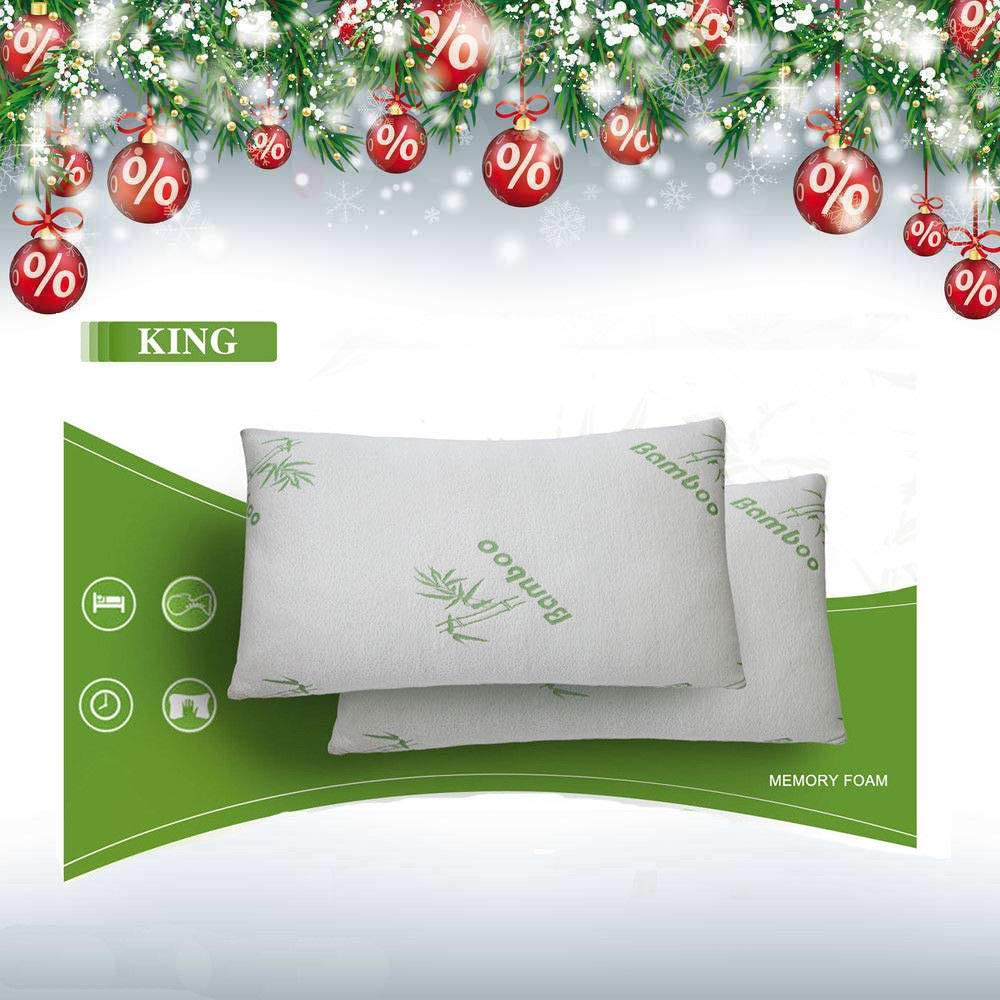 mewinshop A Must Have for Home Use, Ensuring Your Sweet Sleeping Bedroom Furniture BedNew 2pcs Bamboo Pillow Memory Foam King Size Improved Version Hypoallergenic
