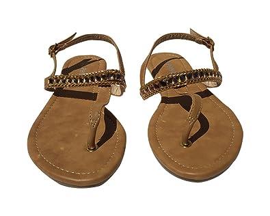 e4feb3b84e39 StyleUpGirl Women s Camel Chain Thong Shell Sandal (Camel ...